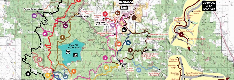 Black Hills snowmobile trials map, trail map, snowmobiles